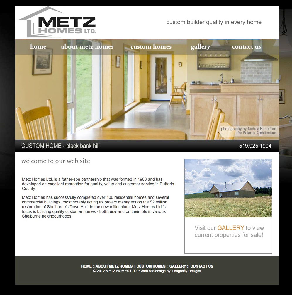 Metz Homes Ltd. website created by Dragonfly Designs